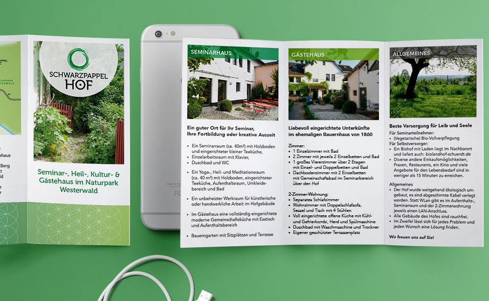 schwarzpappelhof flyer mit smartphone